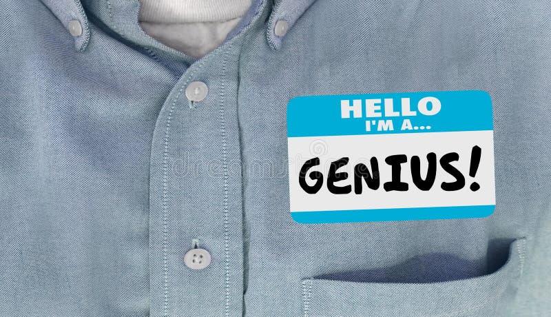 Chemise de Word d'autocollant d'étiquette de nom instruite par génie illustration de vecteur