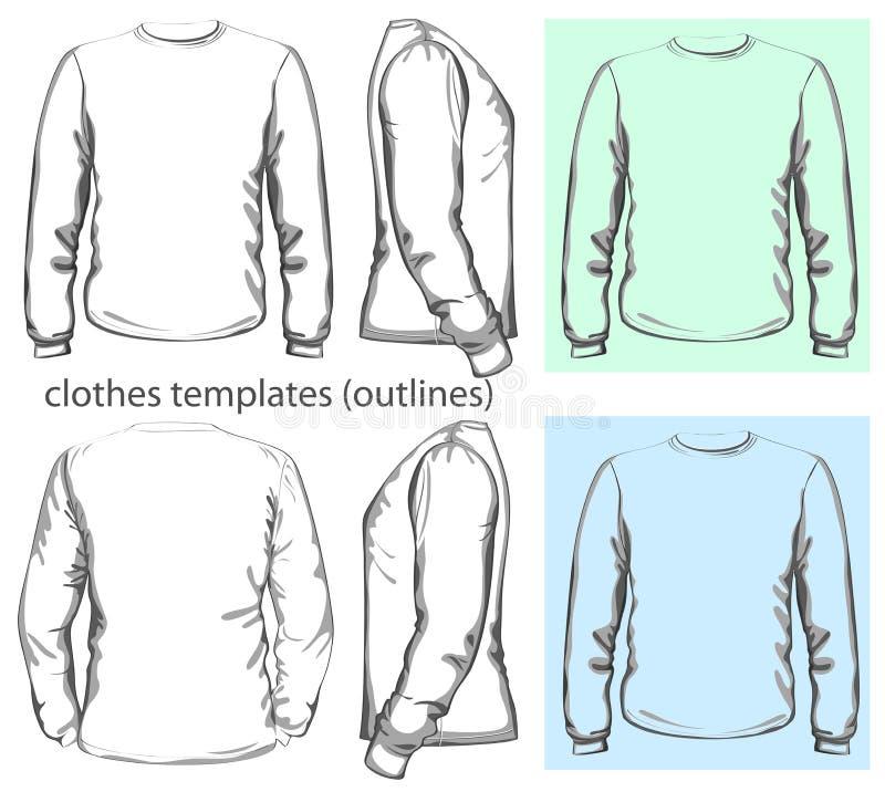 Chemise du T-shirt des hommes longue illustration libre de droits