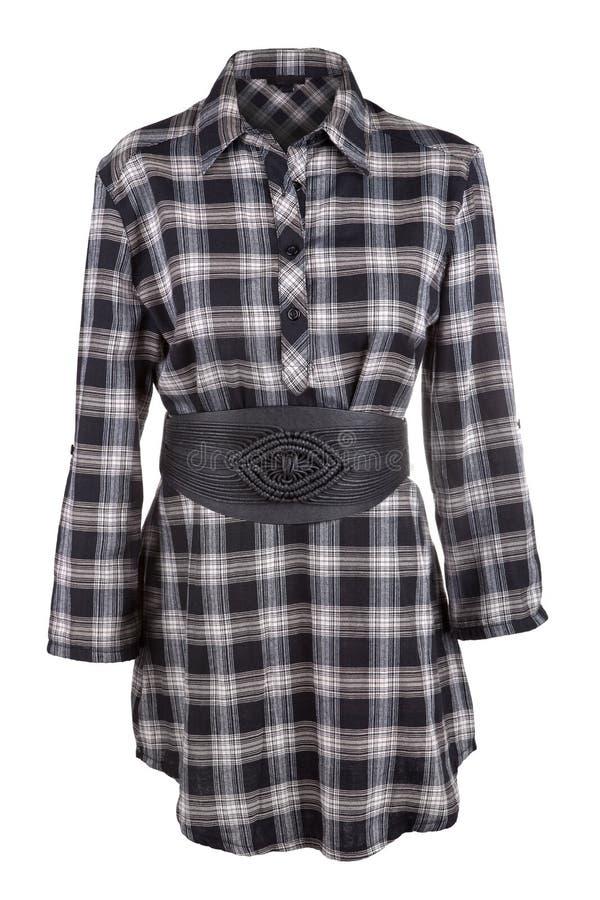 Chemise femelle de plaid avec la ceinture photos stock