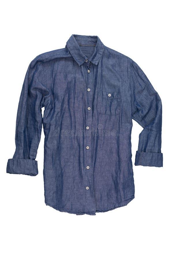 Chemise masculine de denim d'isolement sur le fond blanc photos libres de droits