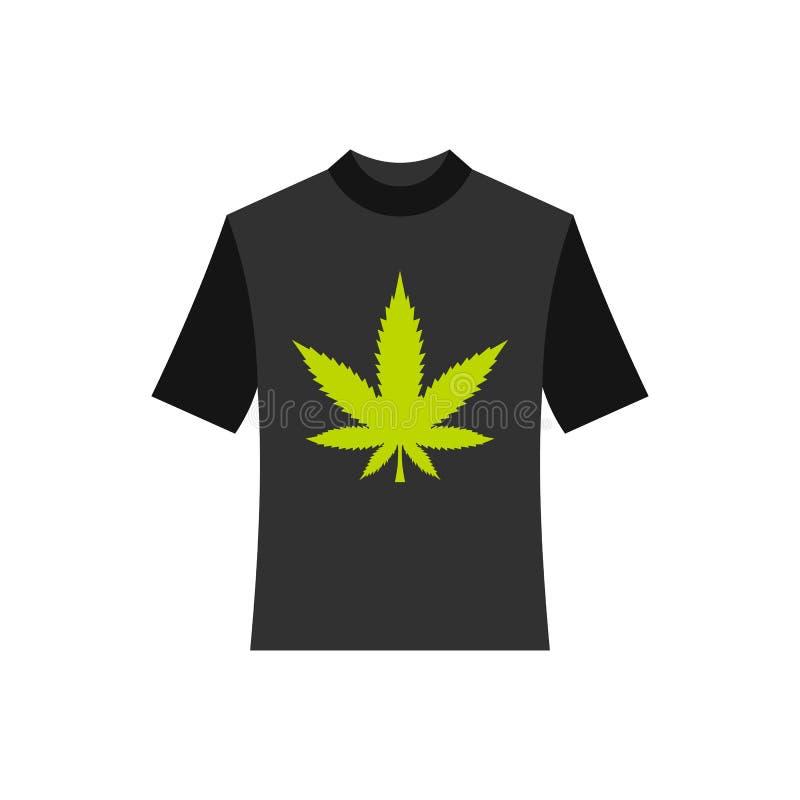 Chemise noire avec l'icône de feuille de marijuana, style plat illustration stock
