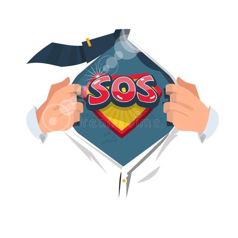 Chemise ouverte d'homme au ` de symbole du ` SOS d'exposition dans le style comique le signal de détresse international illustration de vecteur