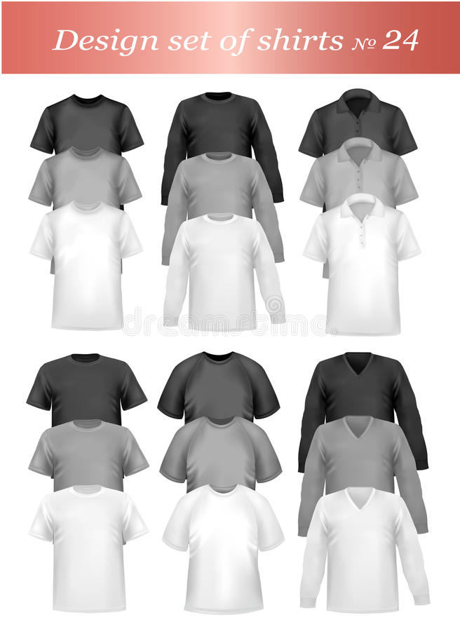 Chemises de polo d'hommes et T-shirts noirs et blancs. illustration libre de droits