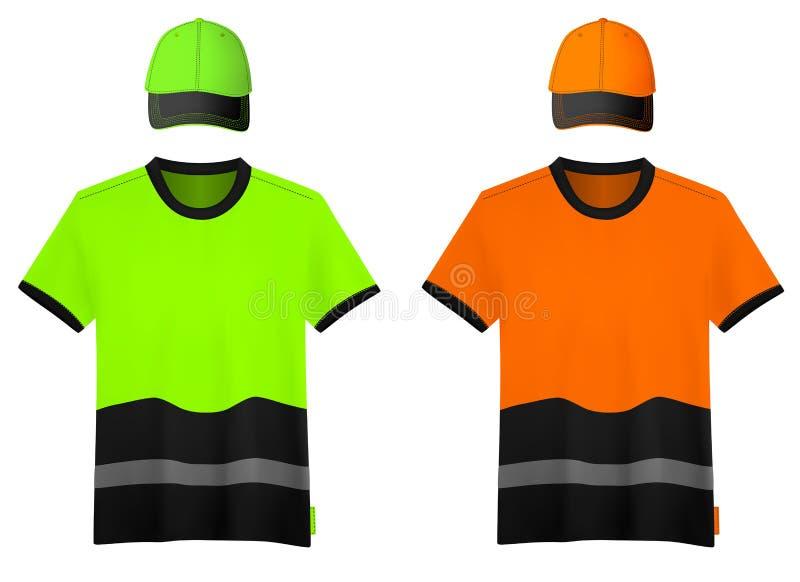 Chemises réfléchissantes et chapeaux de sécurité. illustration de vecteur