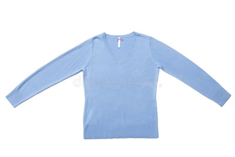 Chemisier tricoté par femme bleue images libres de droits