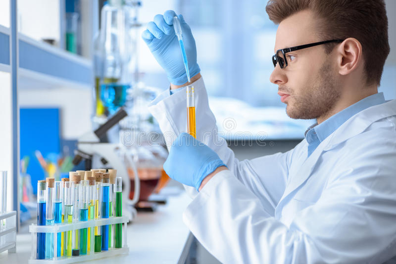 Chemist making experiment in laboratory. Side view of chemist making experiment in laboratory stock photography