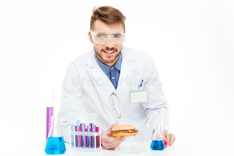 Chemist making GMOs food royalty free stock image