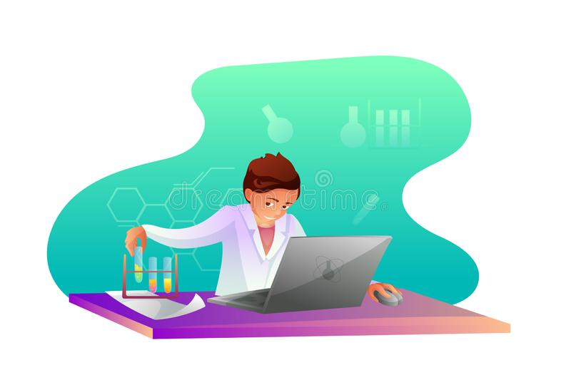 Chemist making research flat character royalty free illustration