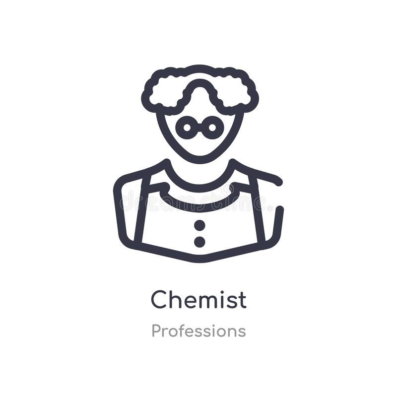 Chemist outline icon. isolated line vector illustration from professions collection. editable thin stroke chemist icon on white. Background royalty free illustration
