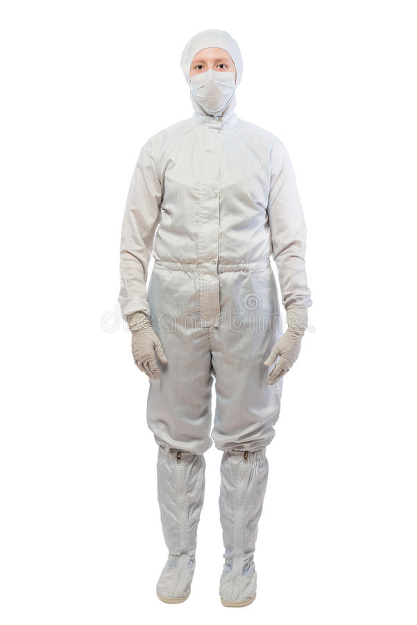 chemist in a white protective suit in full length stock photos