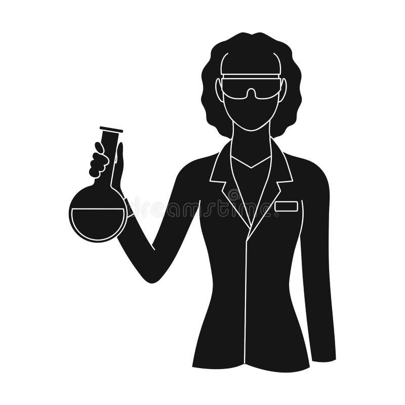 ChemistProfessions pojedyncza ikona w czerń stylu symbolu zapasu ilustraci wektorowej sieci ilustracji