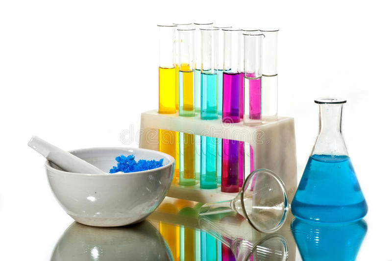 Chemistry. A color-full liquid in chemistry glasses