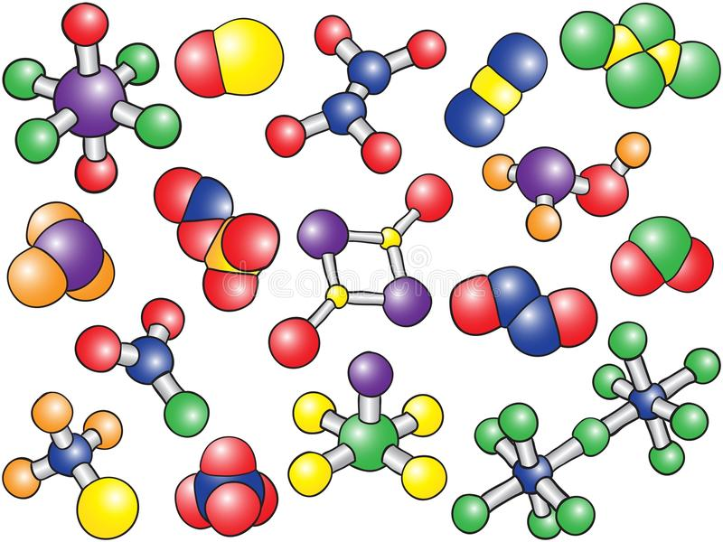 Chemistry background - colored molecule models stock illustration