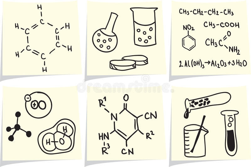 Chemistry and biology icons on yellow memo sticks royalty free illustration