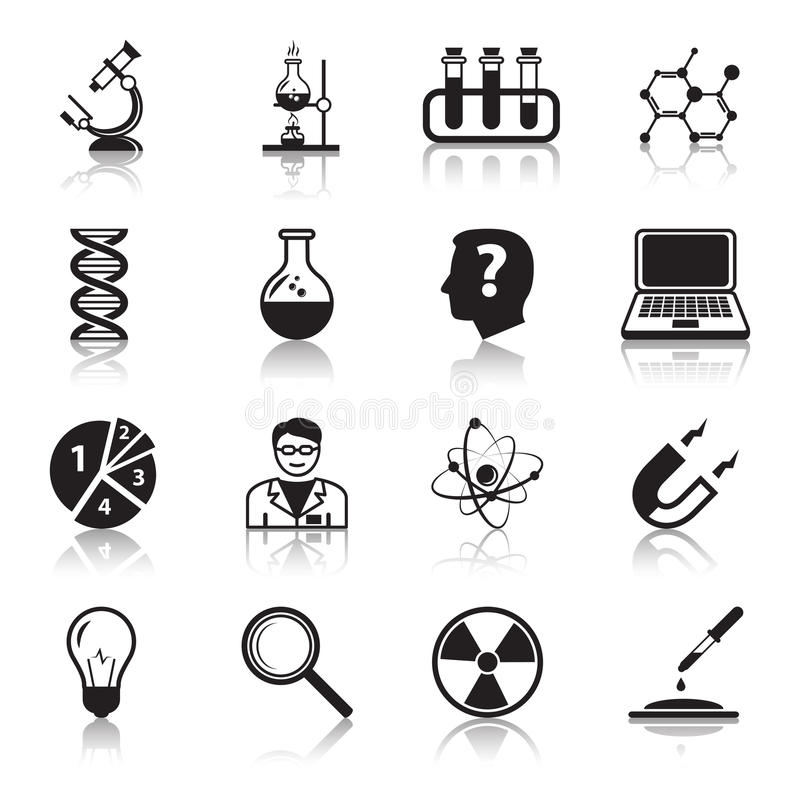 Chemistry or biology science icons set stock illustration