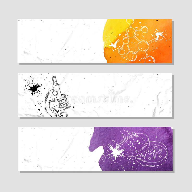 Chemistry And Biology. Set Of White Paper Banner Templates ...