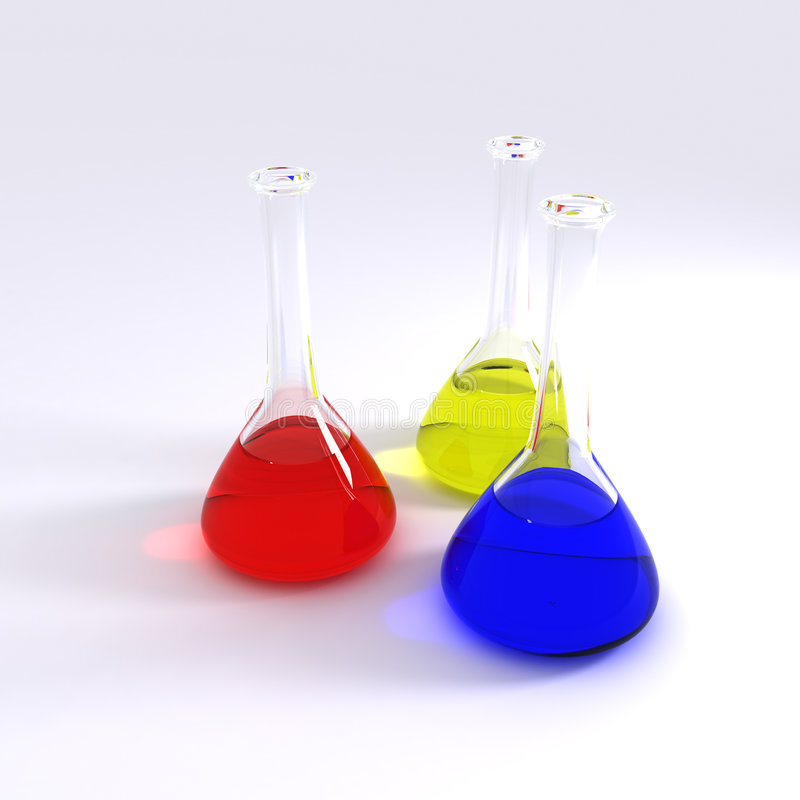 Chemistry Bottles stock illustration