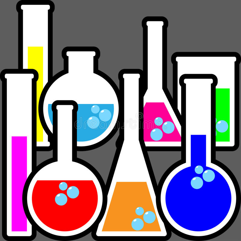 Chemistry bottles royalty free illustration