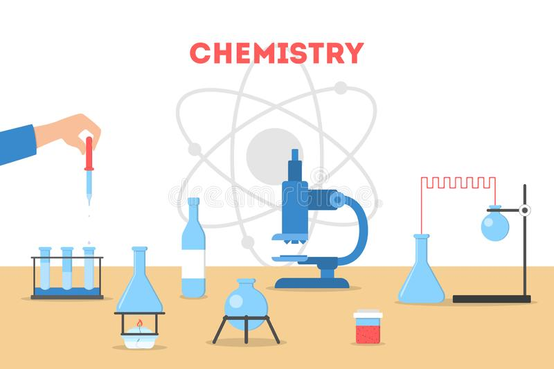 Chemistry concept. Scientist making a medical research. vector illustration