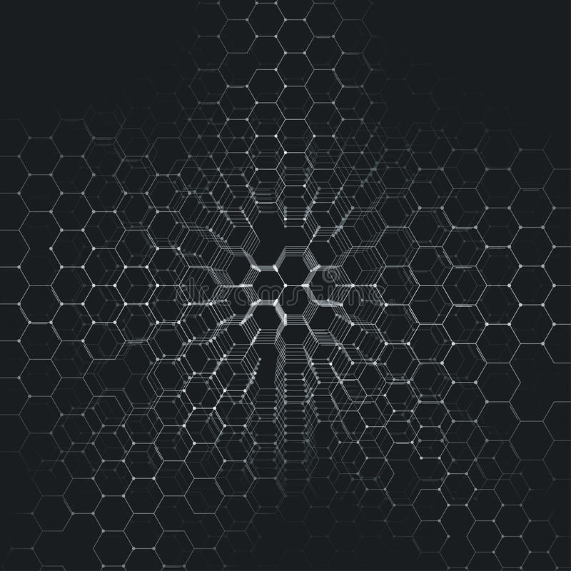 Chemistry 3D pattern, hexagonal molecule structure on black, scientific medical research. royalty free illustration