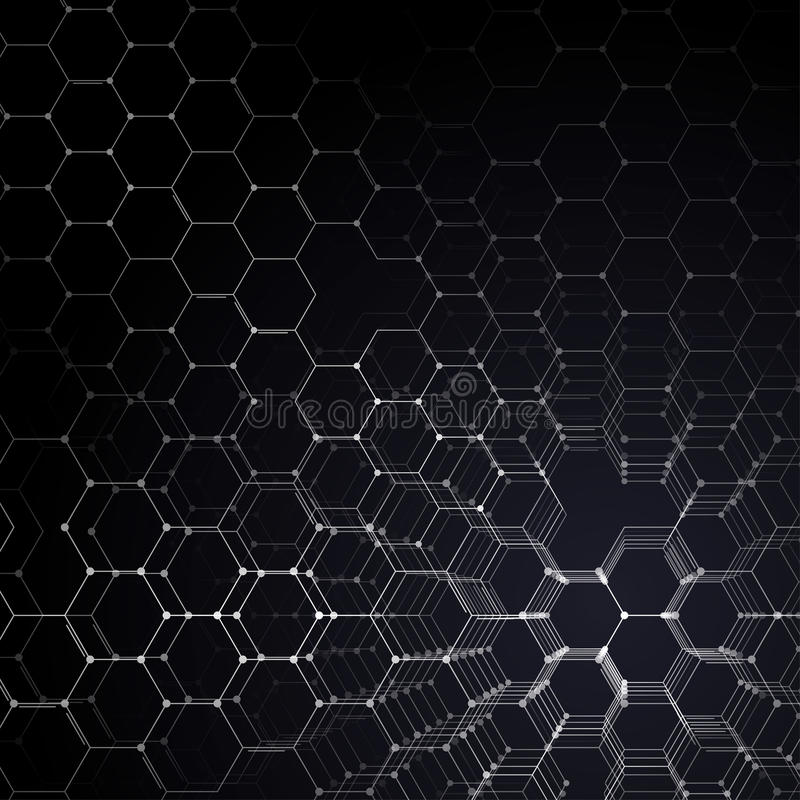 Chemistry 3D pattern, hexagonal molecule structure on black, scientific medical research. Medicine, science and vector illustration