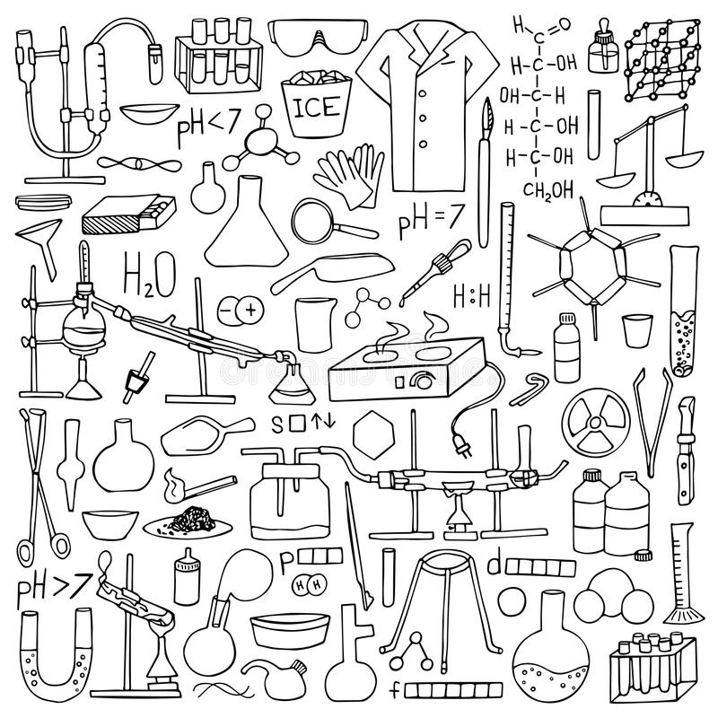 Chemistry doodle set. Chemistry doodle hand drawn set. Science elements and objects royalty free illustration