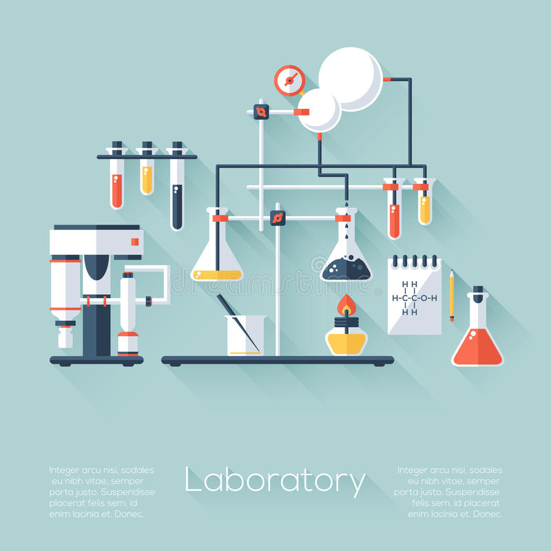 Free Chemistry Education Research Laboratory Equipment. Flat Style With Long Shadows. Modern Trendy Design. Royalty Free Stock Photography - 46881737