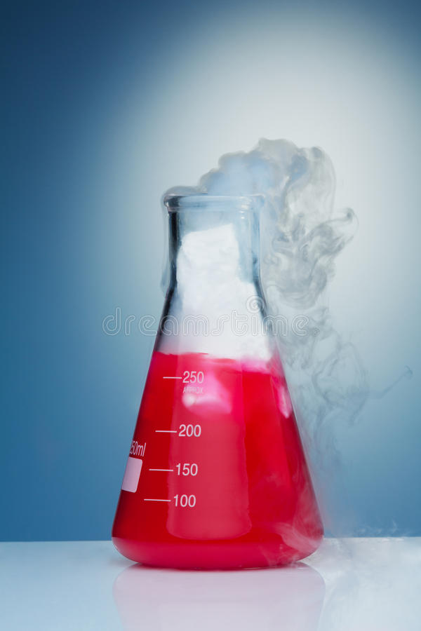 Chemistry experiment with smoke stock image
