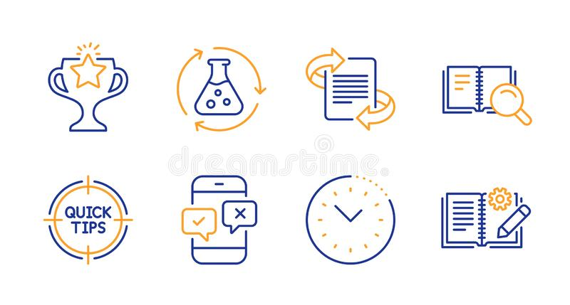 Chemistry experiment, Tips and Search book icons set. Victory, Time management and Marketing signs. Vector. Chemistry experiment, Tips and Search book line icons stock illustration