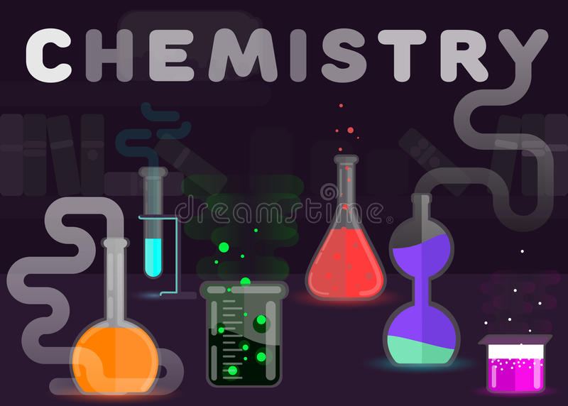 Chemistry flat style vector illustration.Chemical laboratory. Reactions research. Workspace and science experiments concept. stock illustration
