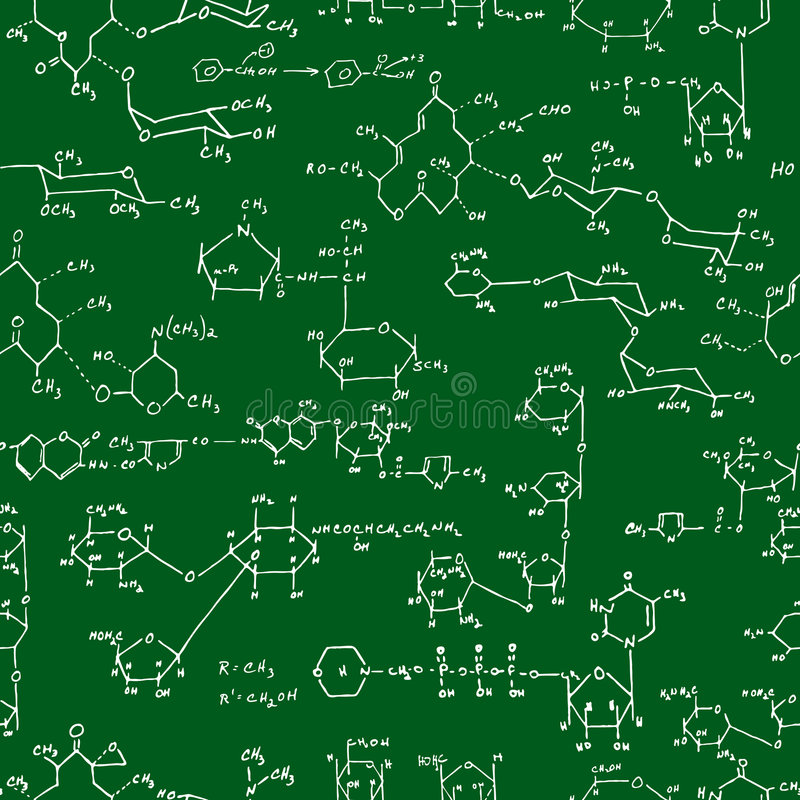 Chemistry formulas blackboard royalty free stock photos