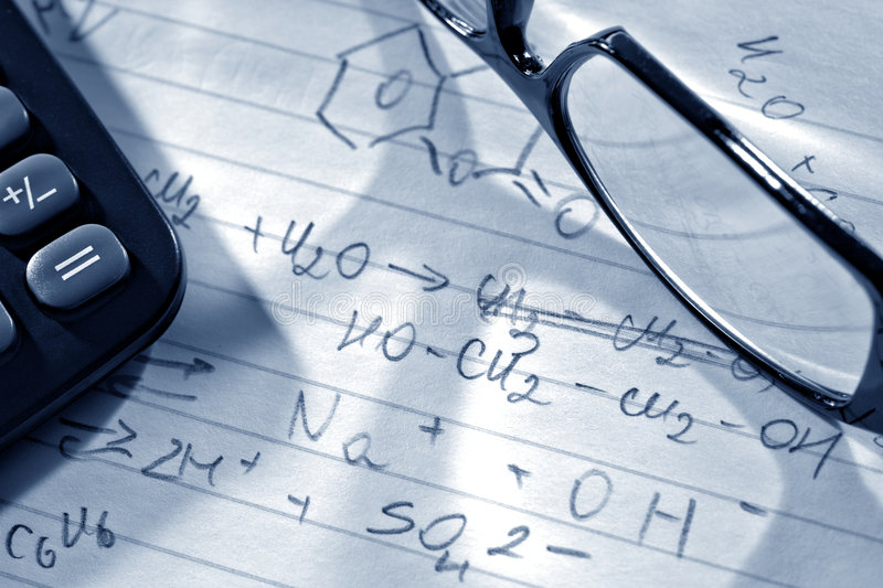 Chemistry Formulas in Science Research Lab stock photography