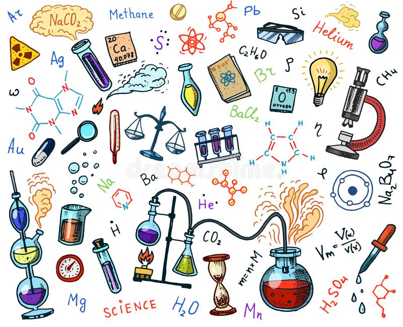 Chemistry of icons set. Chalkboard with elements, formulas, atom, test-tube and laboratory equipment. laboratory. Workspace and reactions research. science stock illustration