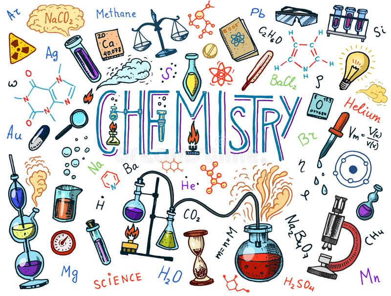 Chemistry of icons set. Chalkboard with elements, formulas, atom, test-tube and laboratory equipment. laboratory. Workspace and reactions research. science royalty free illustration