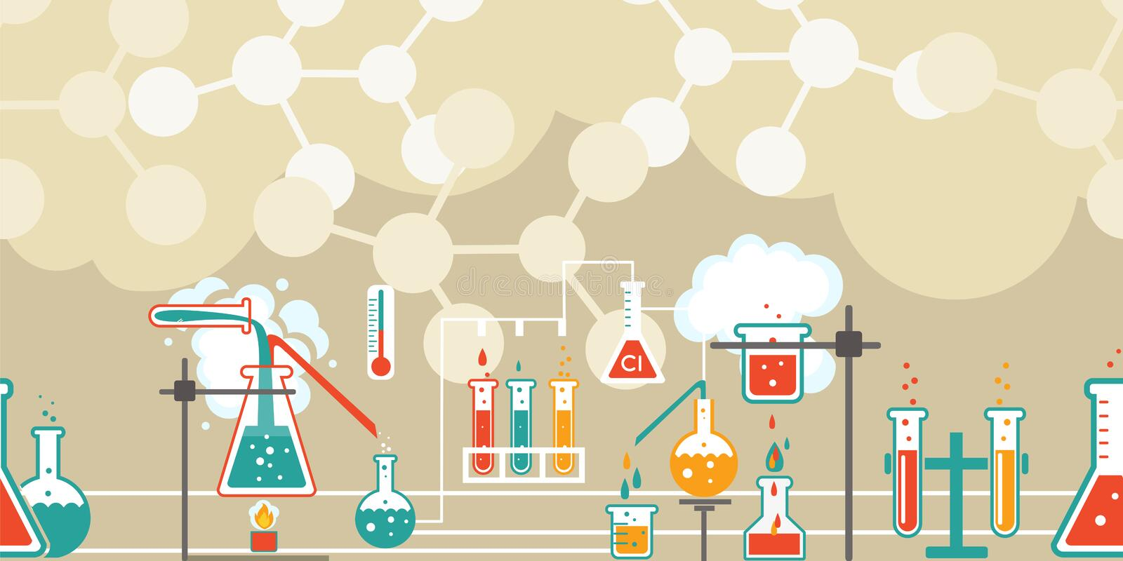 Chemistry infographic in a seamless pattern royalty free illustration