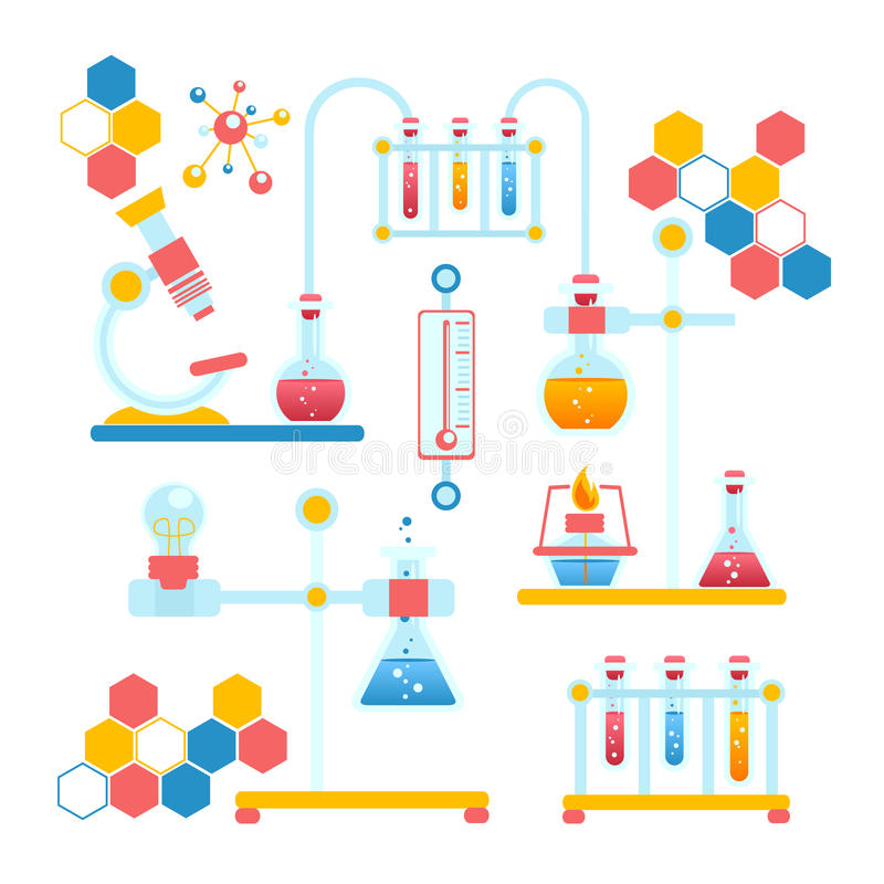 Education Background With Laboratory Vector Vector Art: Chemistry Infographics Composition Stock Vector