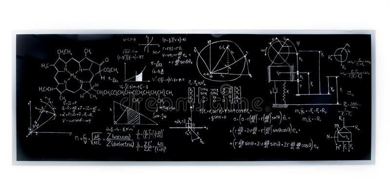Chemistry lab blackboard stock photos