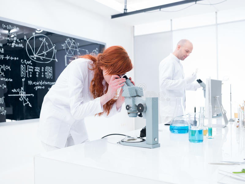 Chemistry lab experiment stock photos