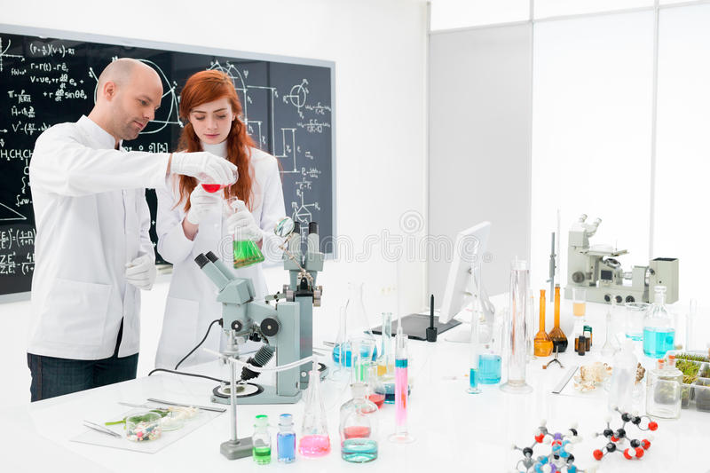 Chemistry lab experiment stock image