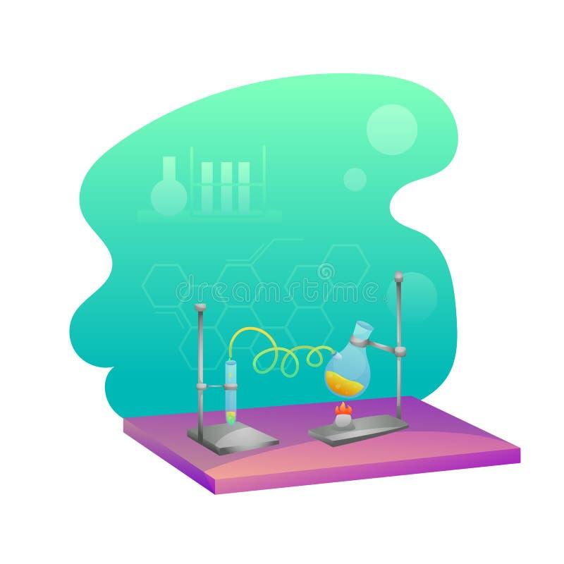 Chemistry lab flat illustration royalty free illustration