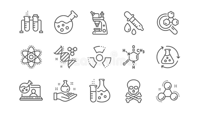 Chemistry lab line icons. Chemical formula, Microscope and Medical analysis. Linear set. Vector stock illustration