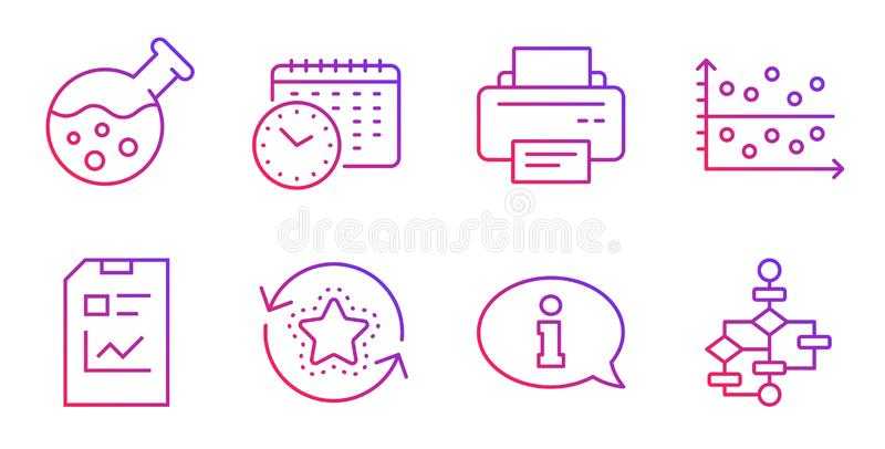 Chemistry lab, Printer and Information icons set. Report document, Calendar time and Loyalty points signs. Vector. Chemistry lab, Printer and Information line royalty free illustration