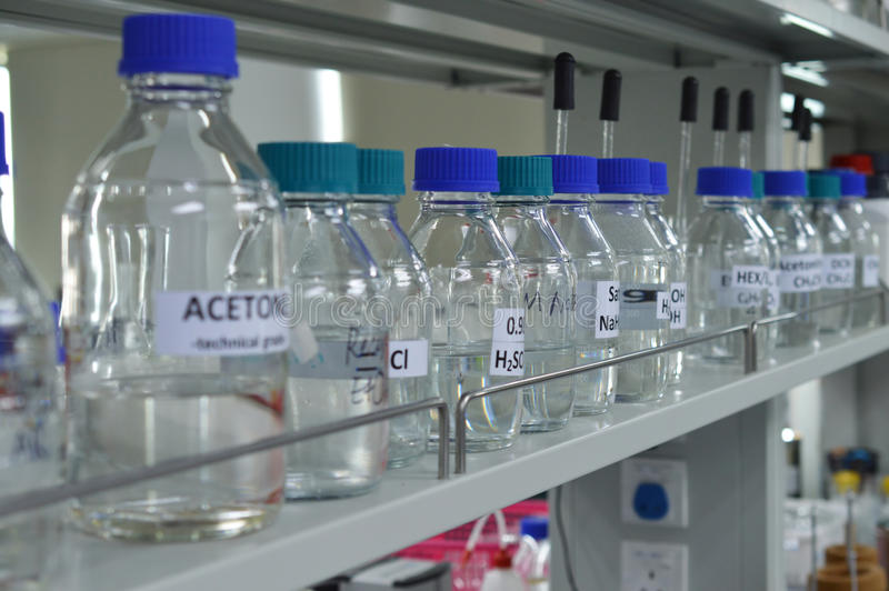 A chemistry lab. Solvents in a chemistry laboratory. Photos taken September 2015 stock photography