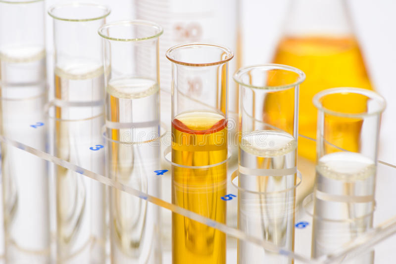 Chemistry lab with test tubes royalty free stock photo