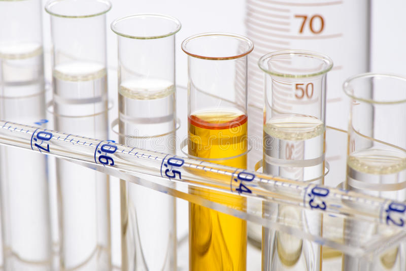 Chemistry lab with test tubes stock image
