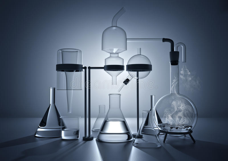 The Chemistry Lab. Various glass chemistry lab equipment