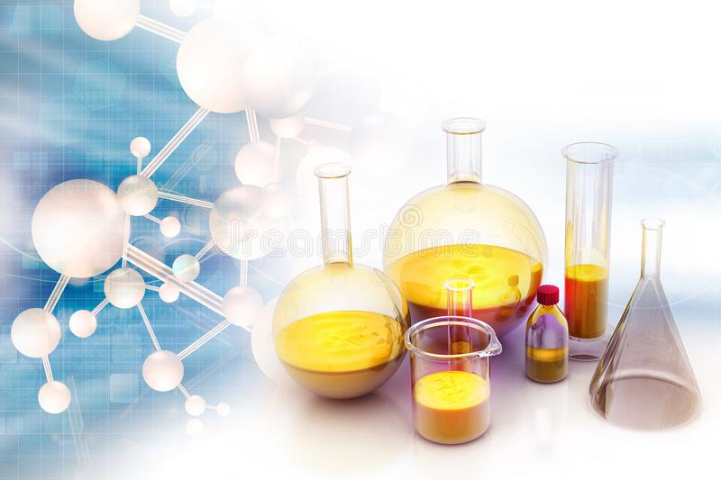 Chemistry laboratory concept. 3d illustration royalty free stock photo