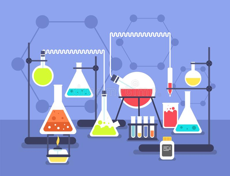 Chemistry laboratory experiment. Research lab science technology. Chemical laboratory vector flat concept stock illustration