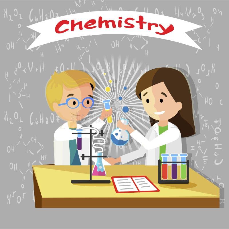 Chemistry Lesson in Elementary School Vector Flat. vector illustration