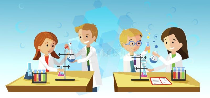 Chemistry Lesson Vector Illustration Experiment. stock illustration
